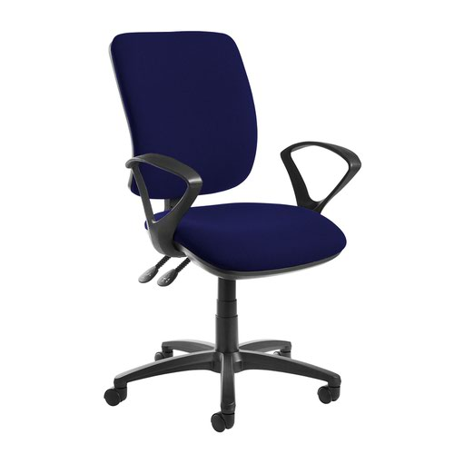 Senza high back operator chair with fixed arms - Ocean Blue