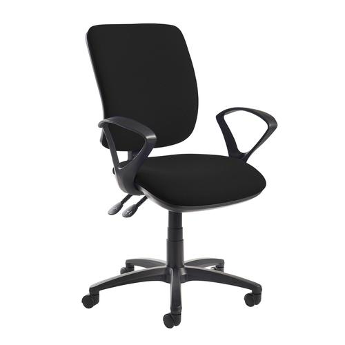 Senza high back operator chair with fixed arms - black