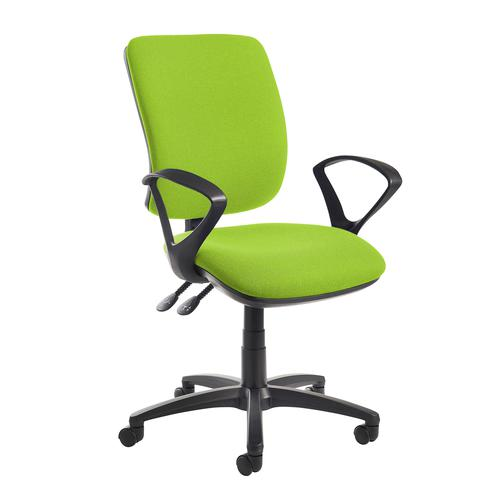 Senza high back operator chair with fixed arms - green