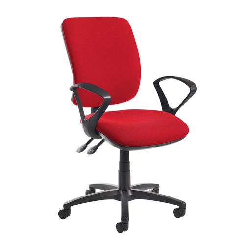 Senza high back operator chair with fixed arms - red