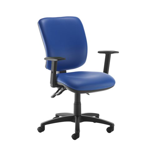 Senza high back operator chair with adjustable arms - Ocean Blue vinyl