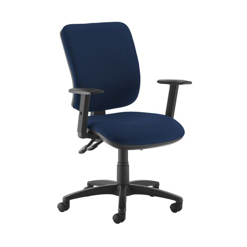 Senza high back operator chair with adjustable arms - Costa Blue