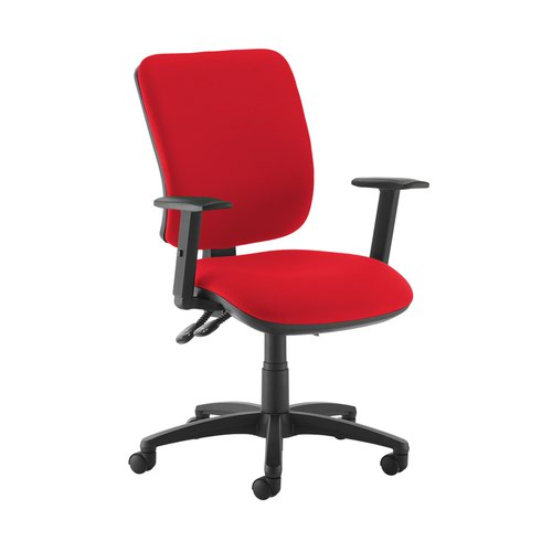Senza high back operator chair with adjustable arms - Panama Red