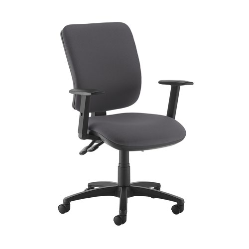 Senza high back operator chair with adjustable arms - Blizzard Grey