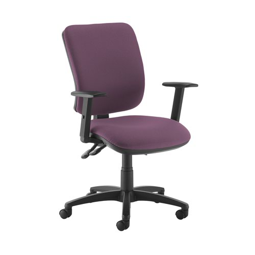 Senza high back operator chair with adjustable arms - Bridgetown Purple