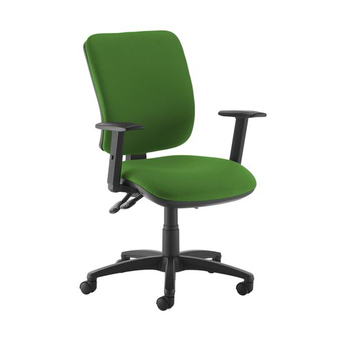 Senza high back operator chair with adjustable arms - Lombok Green