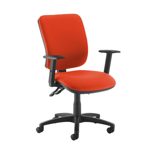 Senza high back operator chair with adjustable arms - Tortuga Orange