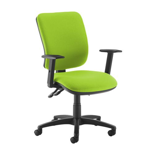 Senza high back operator chair with adjustable arms - green