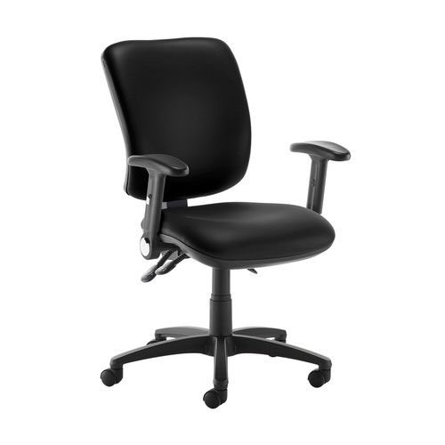 Senza high back operator chair with folding arms - Nero Black vinyl