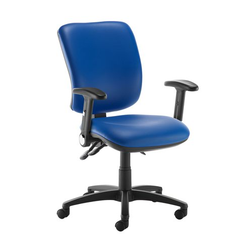 Senza high back operator chair with folding arms - Ocean Blue vinyl