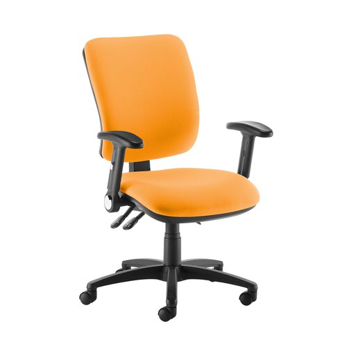 Senza high back operator chair with folding arms - Solano Yellow