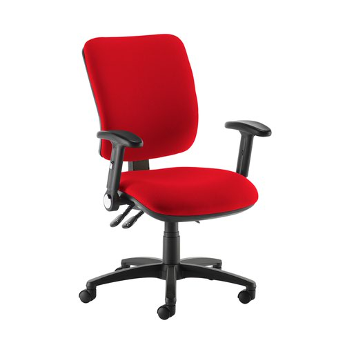 Senza high back operator chair with folding arms - Panama Red