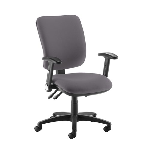 Senza high back operator chair with folding arms - Blizzard Grey