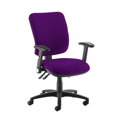 Senza high back operator chair with folding arms - Tarot Purple