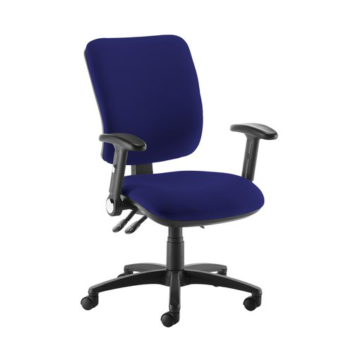 Senza high back operator chair with folding arms - Ocean Blue