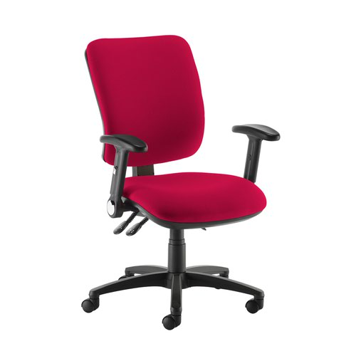 Senza high back operator chair with folding arms - Diablo Pink