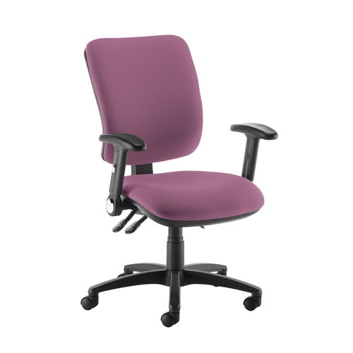 Senza high back operator chair with folding arms - Bridgetown Purple