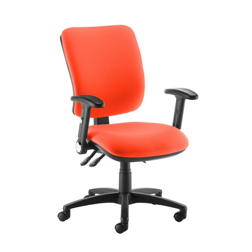 Senza high back operator chair with folding arms - Tortuga Orange