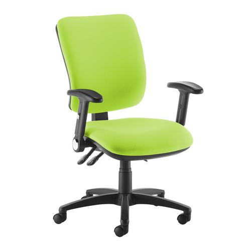 Senza high back operator chair with folding arms - green
