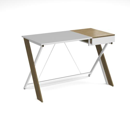 Sidon home office workstation with pull out drawer - English oak with white frame | SO-SIDWS-WH | Dams International