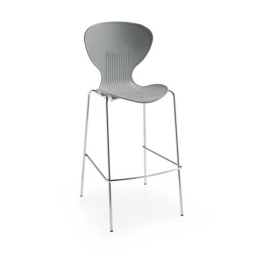 Sienna one piece stool with chrome legs (pack of 2) - grey