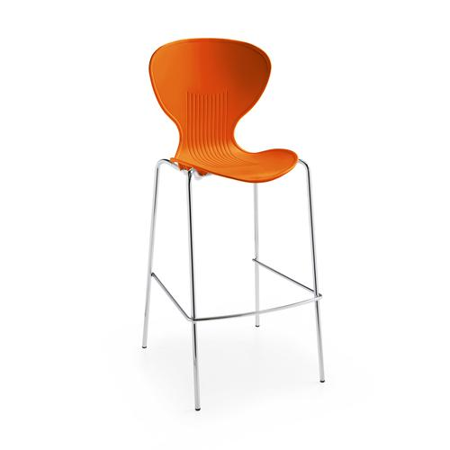 Sienna one piece stool with chrome legs (pack of 2) - orange