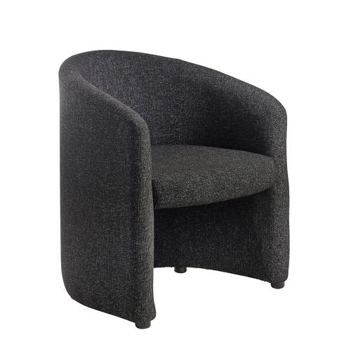 Slender fabric reception single tub chair 620mm wide - charcoal