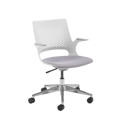 Solus designer operators chair with upholstered seat and chrome base and castors and dove grey shell - made to order