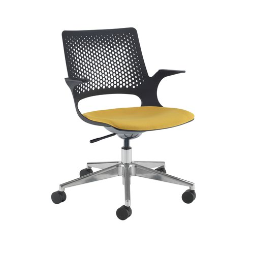 Solus designer operators chair with upholstered seat and chrome base and castors and black shell - made to order