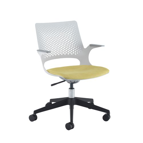 Solus designer operators chair with upholstered seat and black base and castors and dove grey shell - made to order