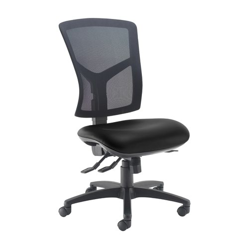 Senza high mesh back operator chair with no arms - Nero Black vinyl