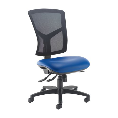 Senza high mesh back operator chair with no arms - Ocean Blue vinyl