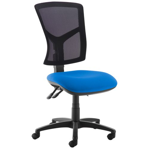 Blue high mesh back operator chair with no arms