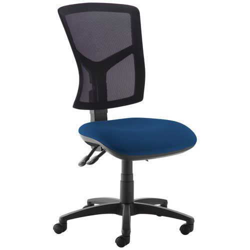 Senza high mesh back operator chair with no arms - Costa Blue