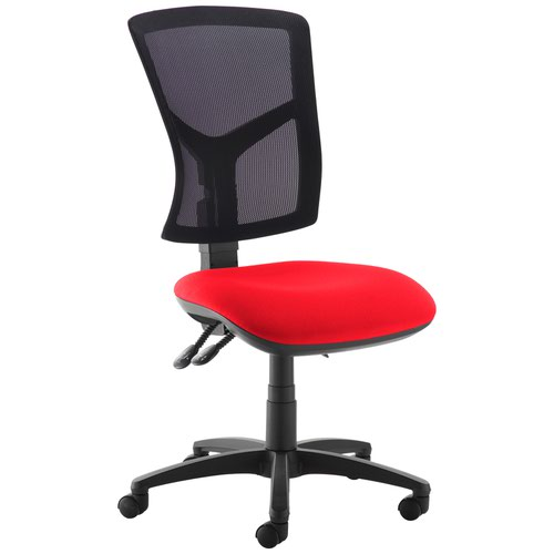 Senza high mesh back operator chair with no arms - Panama Red