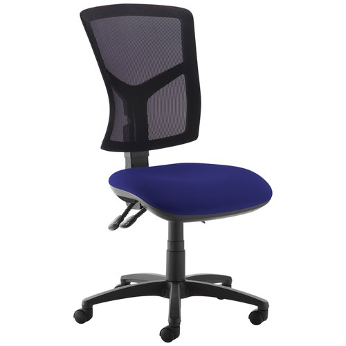 Senza high mesh back operator chair with no arms - Ocean Blue