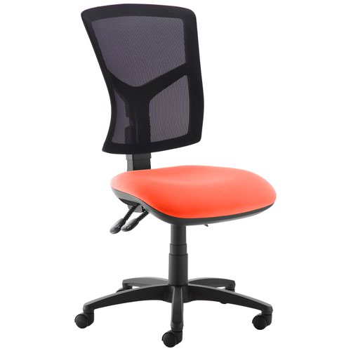 Senza high mesh back operator chair with no arms - Tortuga Orange