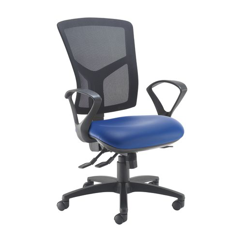 Senza high mesh back operator chair with fixed arms - Ocean Blue vinyl