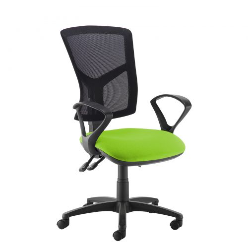 Green high mesh back operator chair with fixed arms