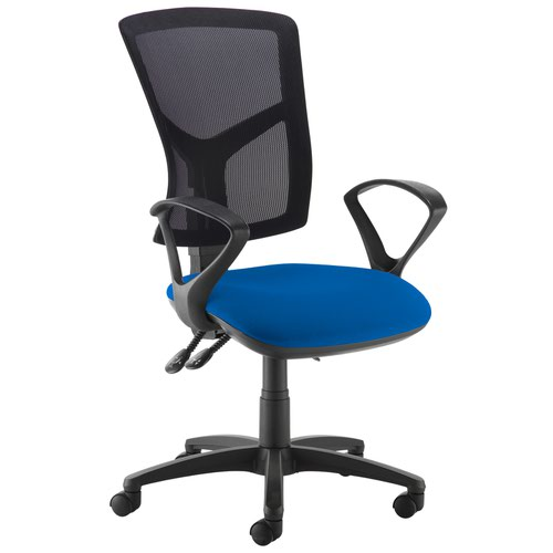 Senza high mesh back operator chair with fixed arms - Curacao Blue