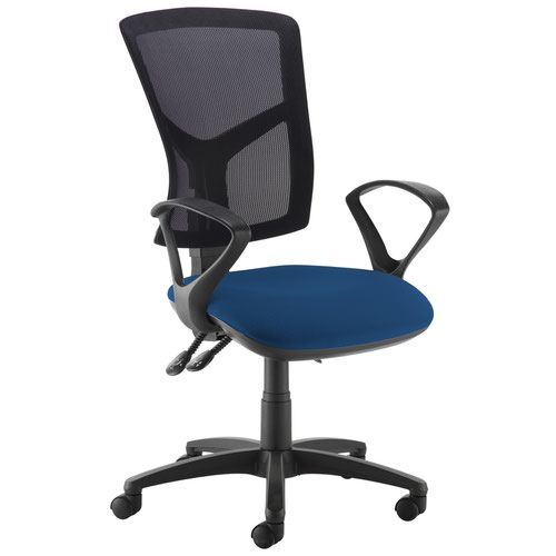 Senza high mesh back operator chair with fixed arms - Costa Blue