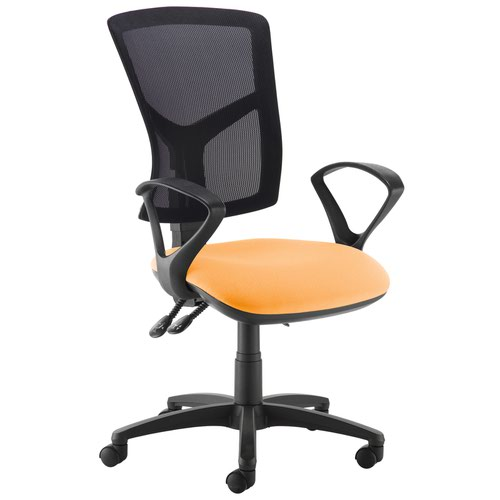 Senza high mesh back operator chair with fixed arms - Solano Yellow