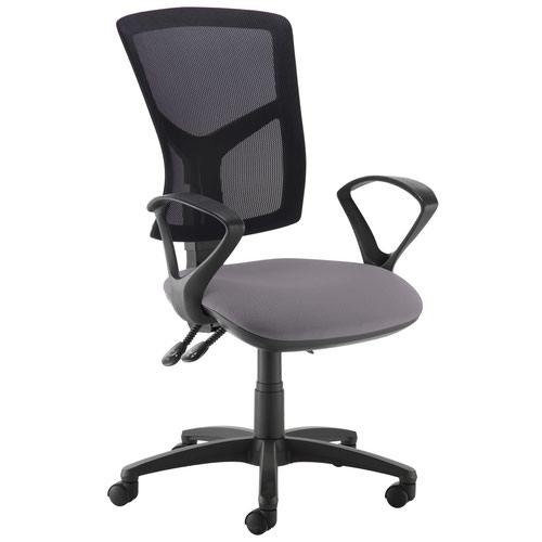 Senza high mesh back operator chair with fixed arms - Blizzard Grey
