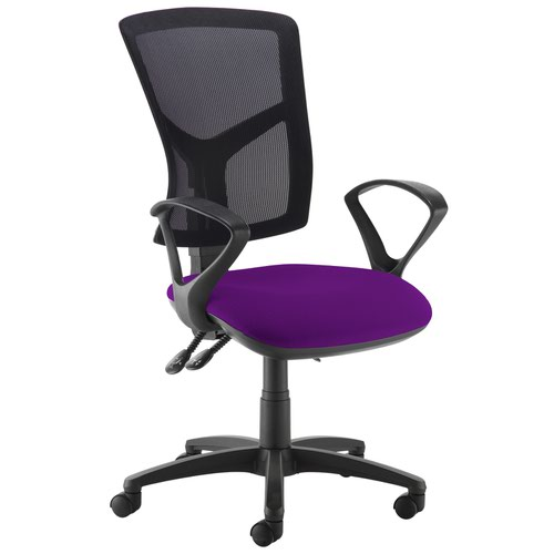 Senza high mesh back operator chair with fixed arms - Tarot Purple