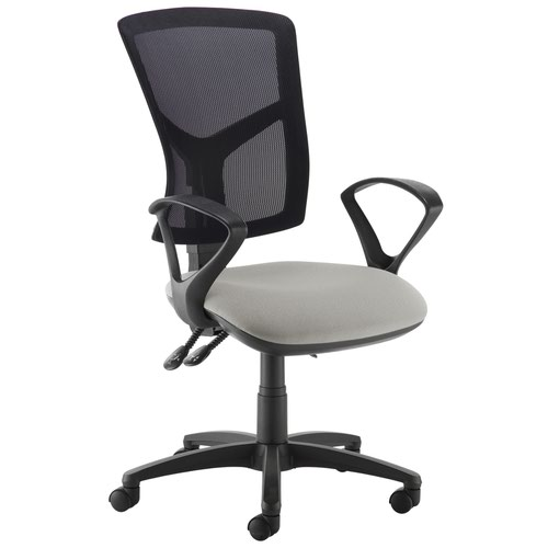 Senza high mesh back operator chair with fixed arms - Slip Grey