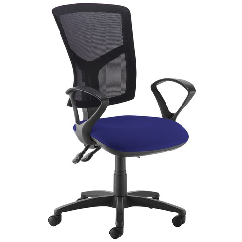 Senza high mesh back operator chair with fixed arms - Ocean Blue
