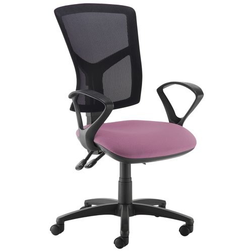 Senza high mesh back operator chair with fixed arms - Bridgetown Purple