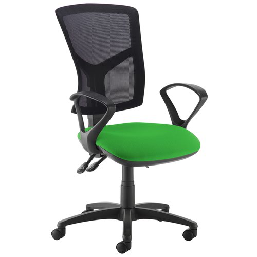 Senza high mesh back operator chair with fixed arms - Lombok Green