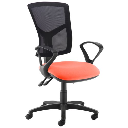 Senza high mesh back operator chair with fixed arms - Tortuga Orange