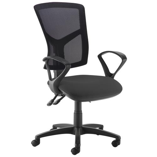Senza high mesh back operator chair with fixed arms - black